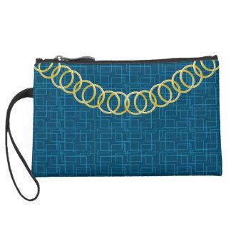 Geometric Blue Luxury Sueded Baguette Teal Suede Wristlet Wallet