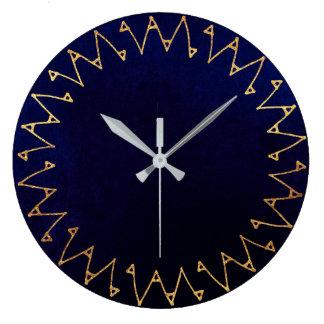 Geometric Blue Navy Velvet Contemporary Large Clock