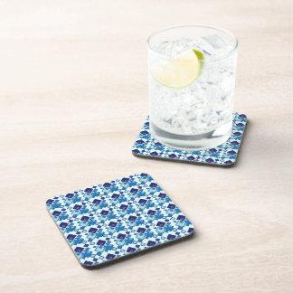 Geometric Blue Squares Pattern Coaster