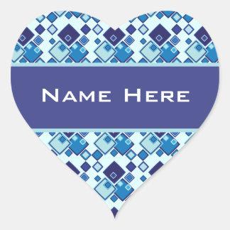 Geometric Blue Squares Pattern Heart Sticker