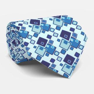 Geometric Blue Squares Pattern Tie