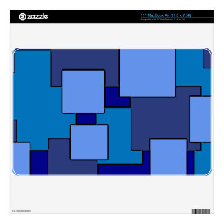 Geometric blue squares theme macbook skin