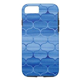 Geometric Blue Watercolor Ogee Pattern