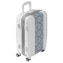 Geometric Blue white Floral Mandala pattern Luggage