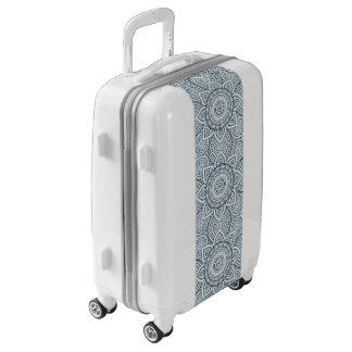 Geometric Blue white Floral Mandala pattern Luggage