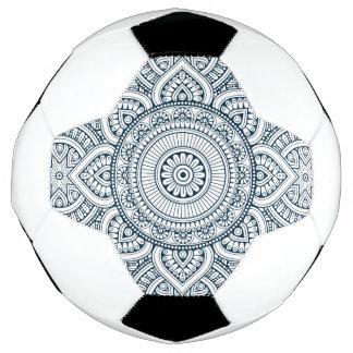 Geometric blue white floral mandala soccer ball