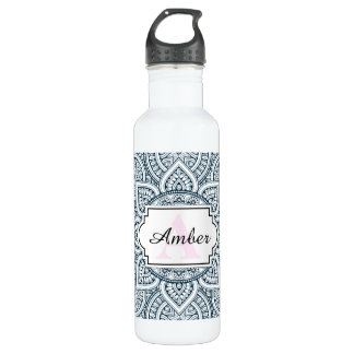 Geometric blue white floral mandala water bottle
