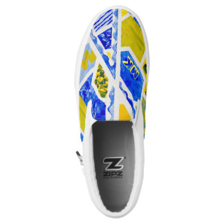 Geometric Blue & Yellow Abstract Acrylic Painting Slip-On Sneakers