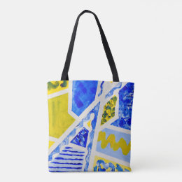 Geometric Blue & Yellow Abstract Acrylic Painting Tote Bag