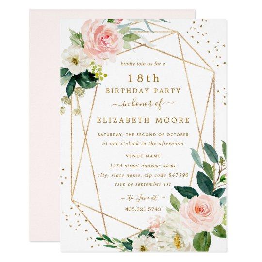 Geometric Blush Gold Floral 18th Birthday Invite