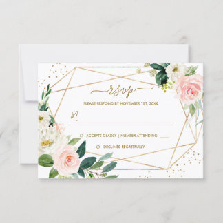 Geometric Blush Gold Floral Gold Wedding RSVP