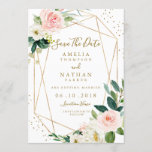 """Geometric Blush Gold Floral Save The Date Invite<br><div class=""""desc"""">More modern floral Wedding Save The Dates Invitations in the Little Bayleigh Store!</div>"""