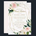 "Geometric Blush Gold Floral Sweet Sixteen Invite<br><div class=""desc"">More modern floral Sweet Sixteen Invitations in the Little Bayleigh Store!</div>"