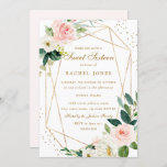 """Geometric Blush Gold Floral Sweet Sixteen Invite<br><div class=""""desc"""">More modern floral Sweet Sixteen Invitations in the Little Bayleigh Store!</div>"""