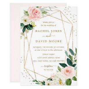 Blush And Gold Wedding Invitations Zazzle