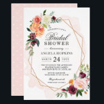 """Geometric Blush Watercolor Floral Bridal Shower Card<br><div class=""""desc"""">Geometric Blush Watercolor Floral Bridal Shower Invitation. (1) For further customization, please click the &quot;customize further&quot; link and use our design tool to modify this template. (2) If you prefer Thicker papers / Matte Finish, you may consider to choose the Matte Paper Type. (3) If you need help or matching...</div>"""