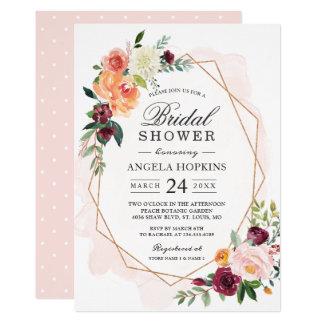 Geometric Blush Watercolor Floral Bridal Shower Card
