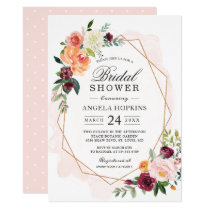 Geometric Blush Watercolor Floral Bridal Shower Invitation