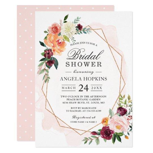 e876745584bc Geometric Blush Watercolor Floral Bridal Shower Invitation