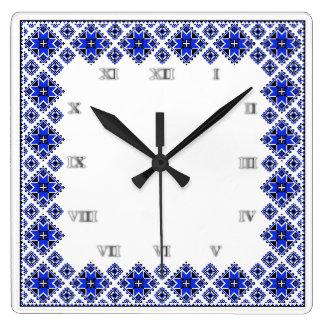 Geometric Boarder Pattern - Blue - Clock