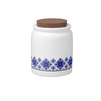 Geometric Boarder Pattern - Blue - Jar Candy Dishes
