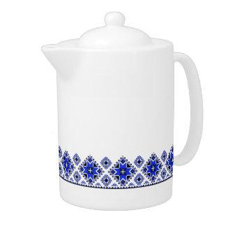 Geometric Boarder Pattern - Blue - Teapot