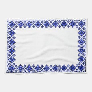 Geometric Boarder Pattern - Blue - Towel