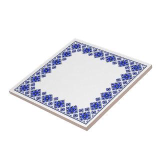 Geometric Boarder Pattern - Blue - Trivet Ceramic Tile