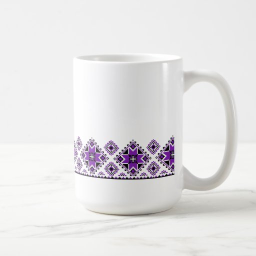 Geometric Boarder Pattern - Purple - Mug