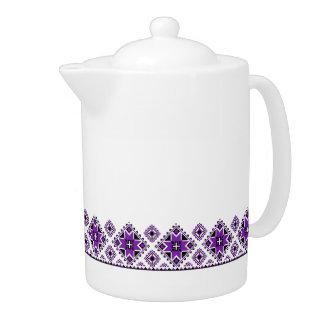 Geometric Boarder Pattern - Purple - Teapot