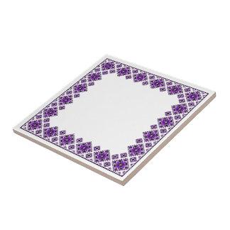 Geometric Boarder Pattern - Purple - Trivet Tile