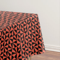 Geometric Bold Retro Funky Black Orange Modern Tablecloth