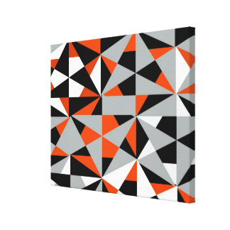 Geometric Bold Retro Funky Orange Black White Canvas Print