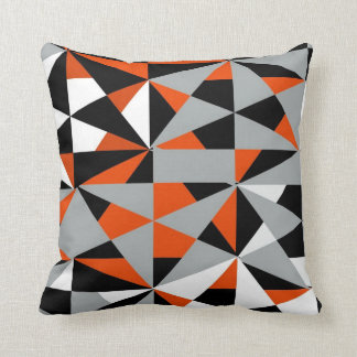 geometric bold retro funky orange black white throw pillow