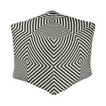 Geometric Box Stripes in Black and White Pouf