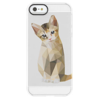 Geometric brown cat sitting permafrost iPhone SE/5/5s case