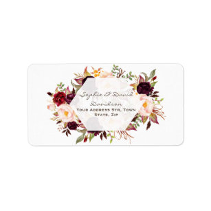 Geometric Burgundy Marsala Floral Wedding Label