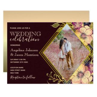 Geometric Burgundy Pink Gold Floral Wedding Photo Invitation