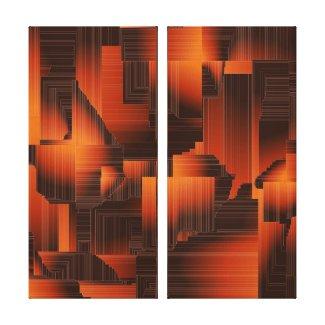 Geometric Burnt Orange Canvas Print