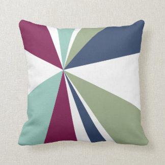 Geometric Burst Triangle Art Purple Blue Green Throw Pillows