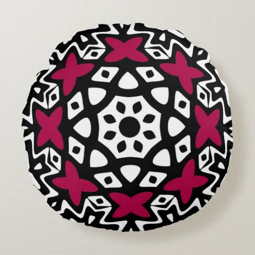 Geometric Butterfly Mandala Round Pillow