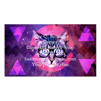 Geometric cat purple and pink pattern.Space cat Business Card