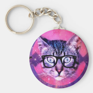 Geometric cat purple and pink pattern.Space cat Keychain