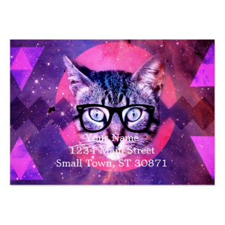 Geometric cat purple and pink pattern.Space cat Large Business Card