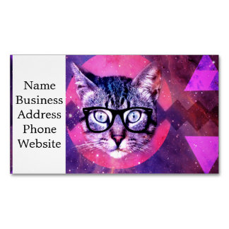 Geometric cat purple and pink pattern.Space cat Magnetic Business Card