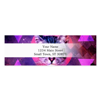 Geometric cat purple and pink pattern.Space cat Mini Business Card