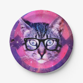 Geometric cat purple and pink pattern.Space cat Paper Plate