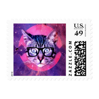Geometric cat purple and pink pattern.Space cat Postage