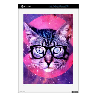 Geometric cat purple and pink pattern.Space cat PS3 Console Skin