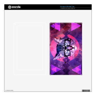 Geometric cat purple and pink pattern.Space cat Skin For Kindle Fire